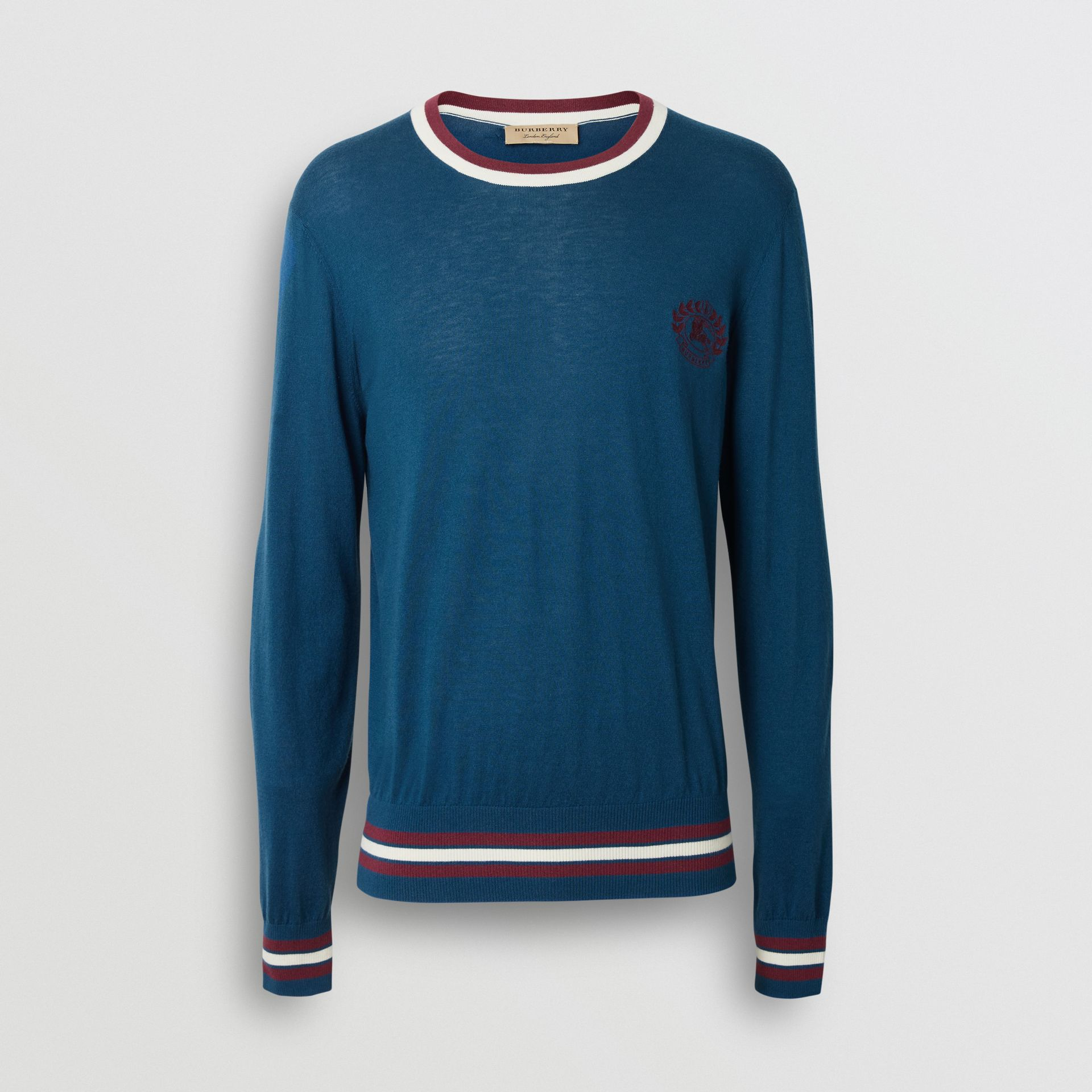 Embroidered Crest Cotton Silk Sweater in Dark Teal Blue - Men | Burberry Australia - gallery image 3