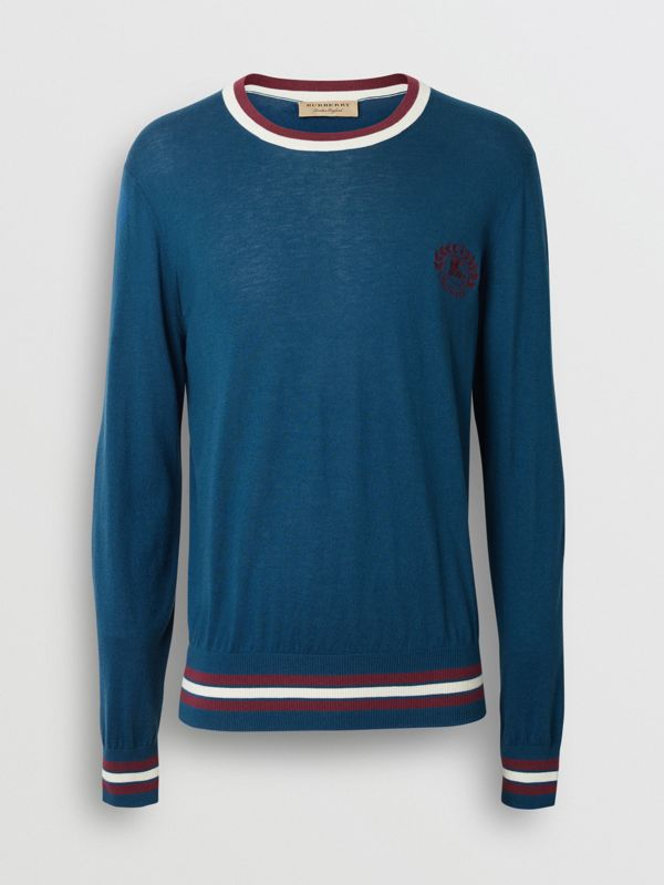 Embroidered Crest Cotton Silk Sweater in Dark Teal Blue - Men | Burberry - cell image 3