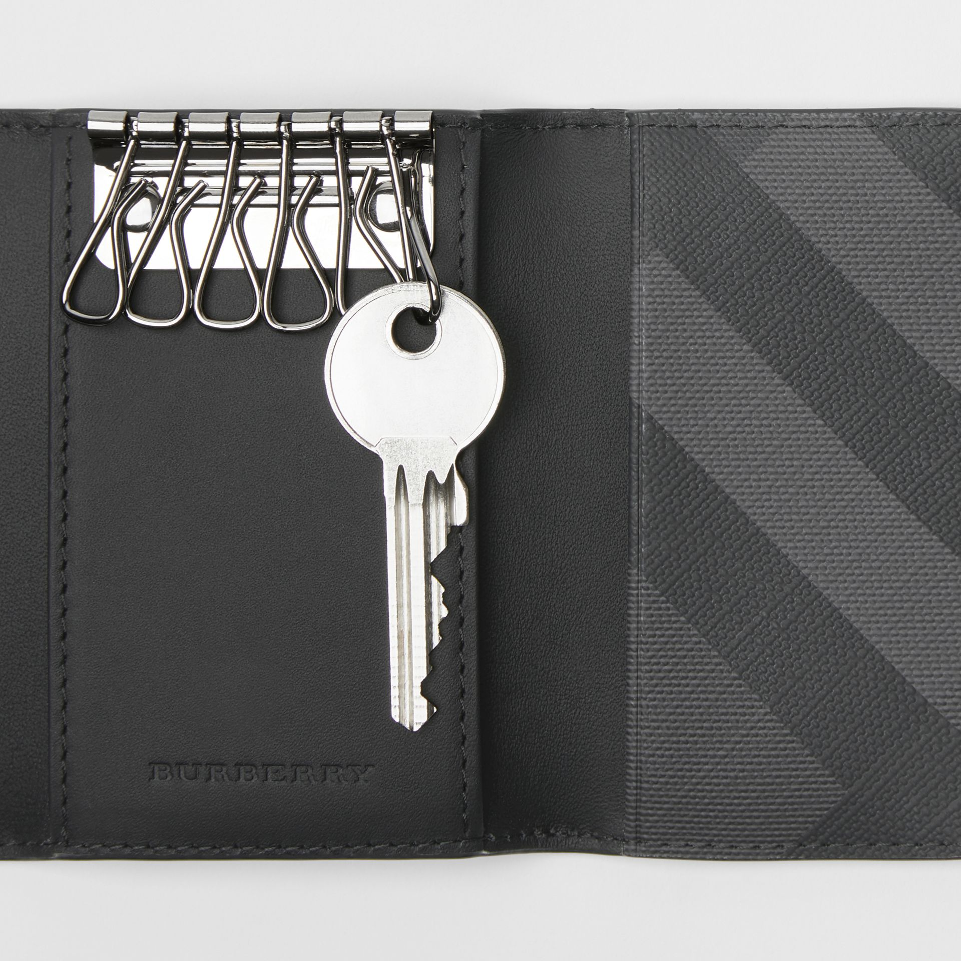 London Check and Leather Key Case in Charcoal/black - Men | Burberry Canada - gallery image 1