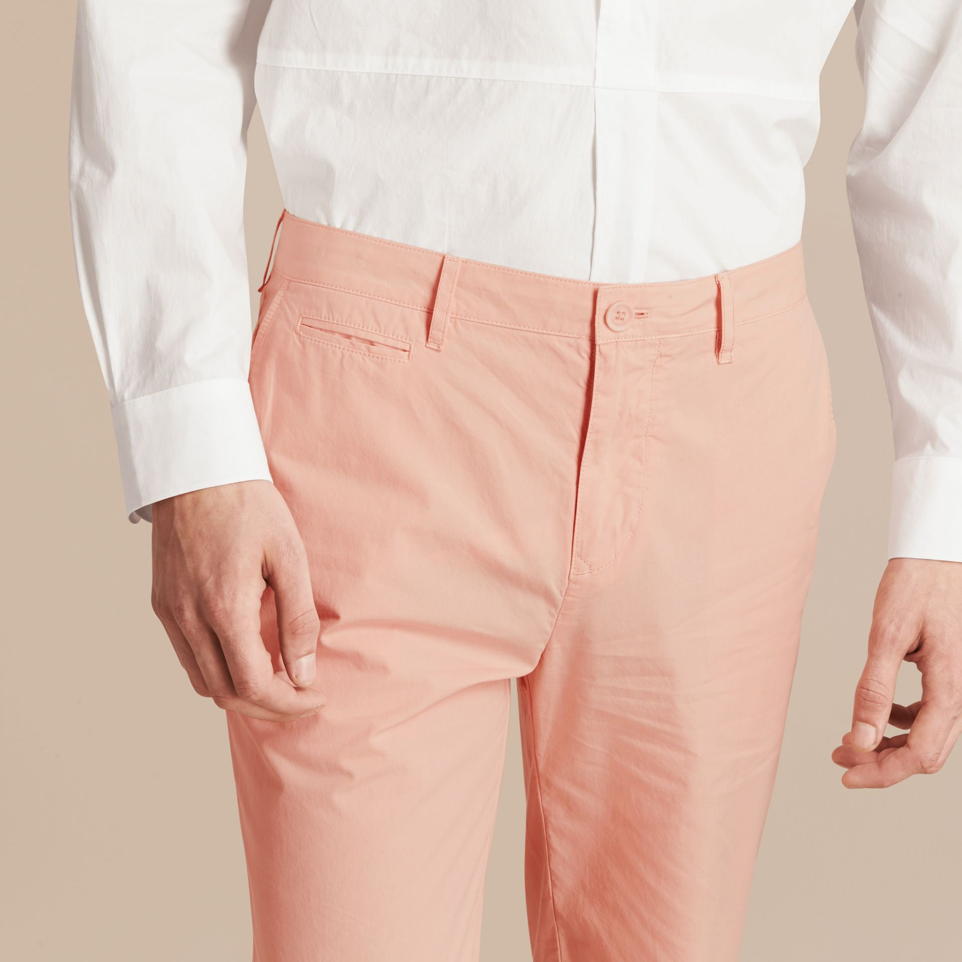 Slim Fit Cotton Poplin Chinos Apricot Pink - gallery image 5