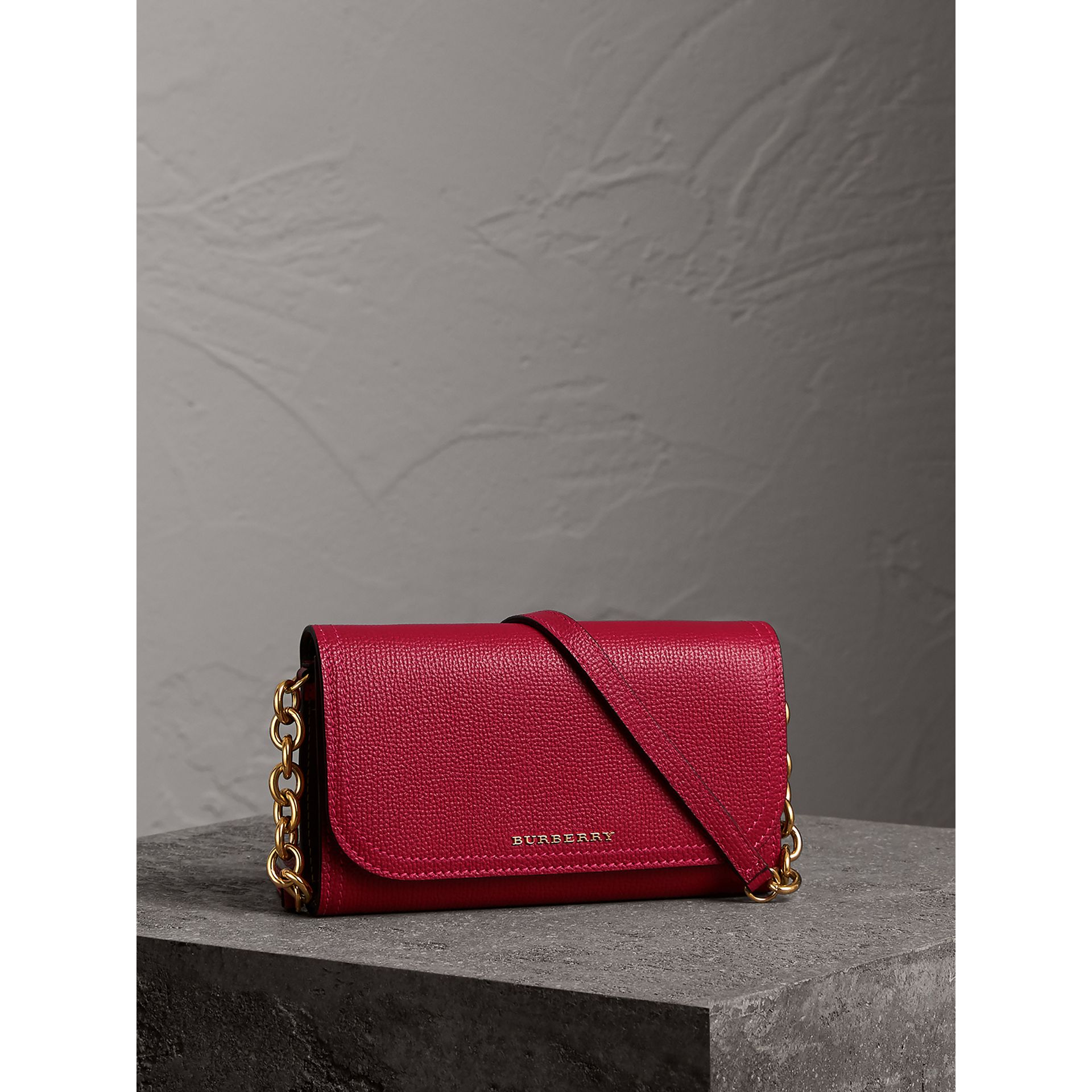 Topstitch Detail Leather Wallet with Detachable Strap in Parade Red/multicolour - Women | Burberry - gallery image 0