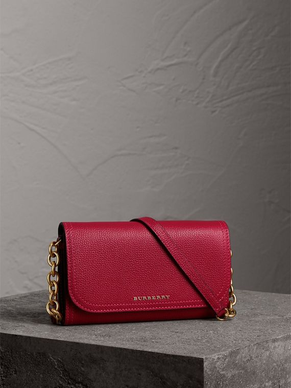 Topstitch Detail Leather Wallet with Detachable Strap in Parade Red/multicolour