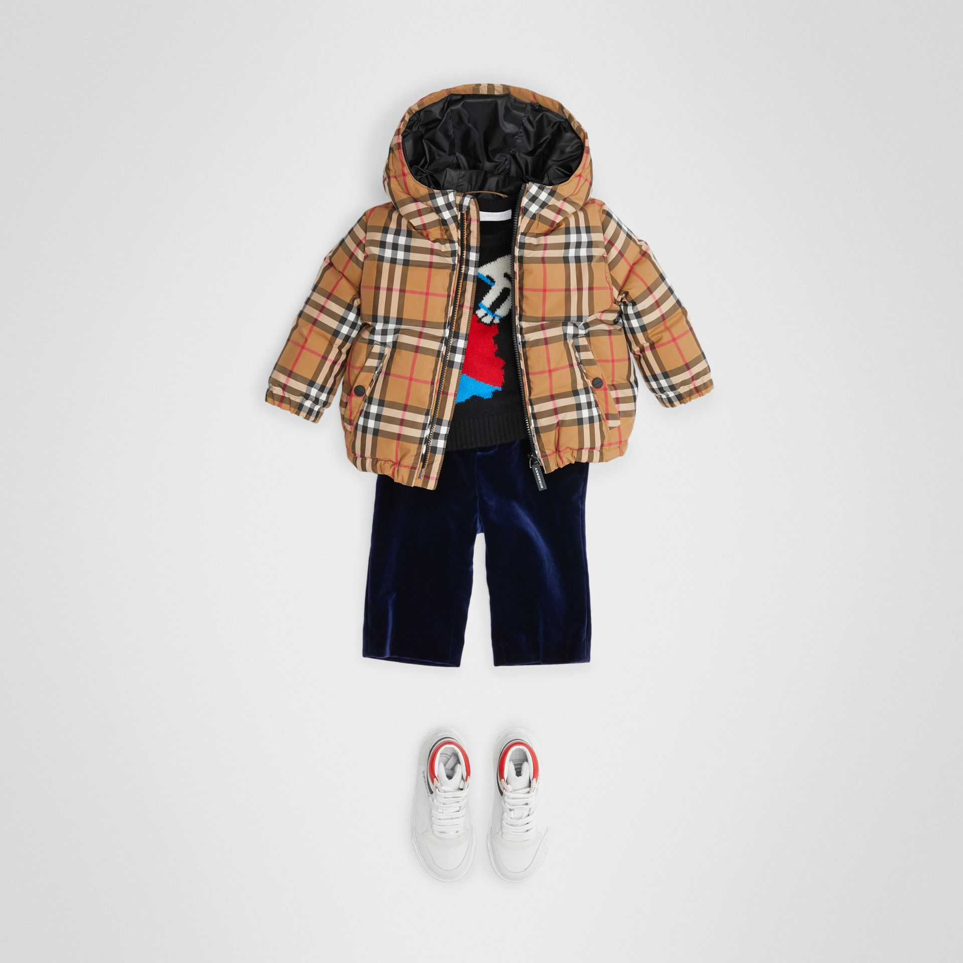 Vintage Check Down-filled Hooded Jacket in Antique Yellow - Children | Burberry United Kingdom - gallery image 2