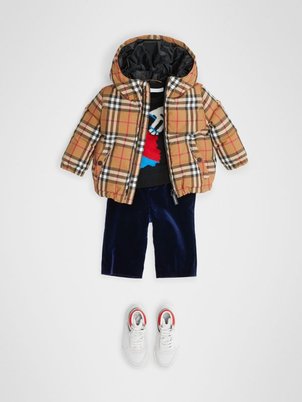 Vintage Check Down-filled Hooded Jacket in Antique Yellow - Children | Burberry - cell image 2
