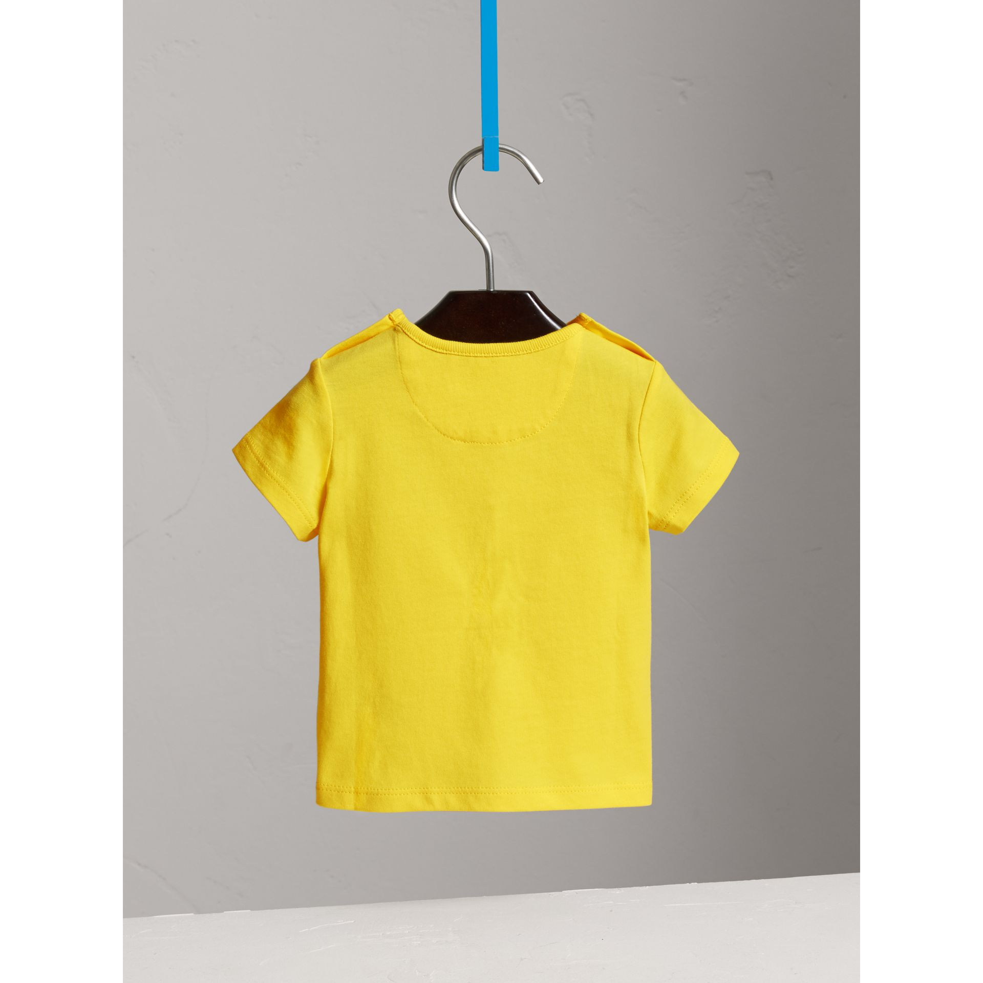 Check Pocket Cotton T-shirt in Bright Citrus Yellow | Burberry - gallery image 3