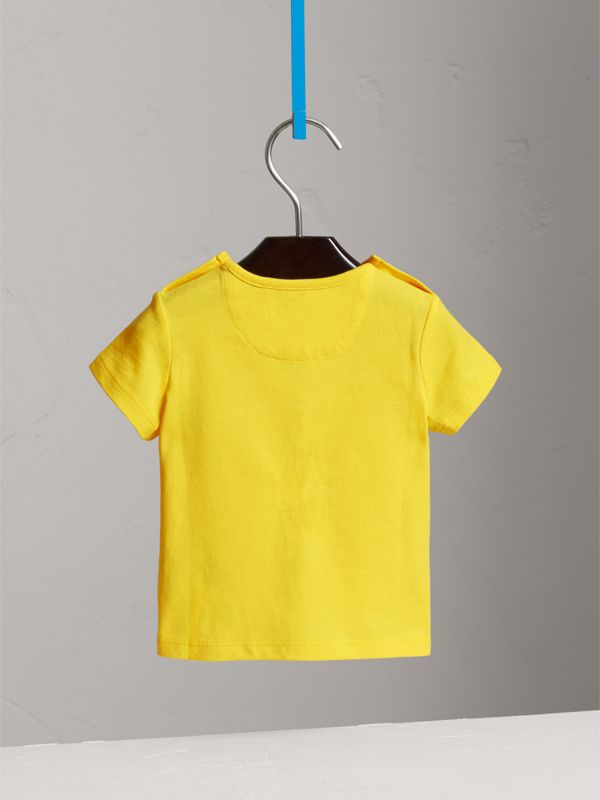 Check Pocket Cotton T-shirt in Bright Citrus Yellow | Burberry - cell image 3