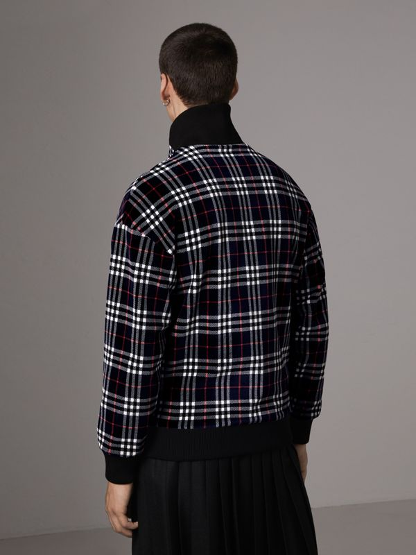 Check Velvet Bomber Jacket in Navy | Burberry - cell image 2