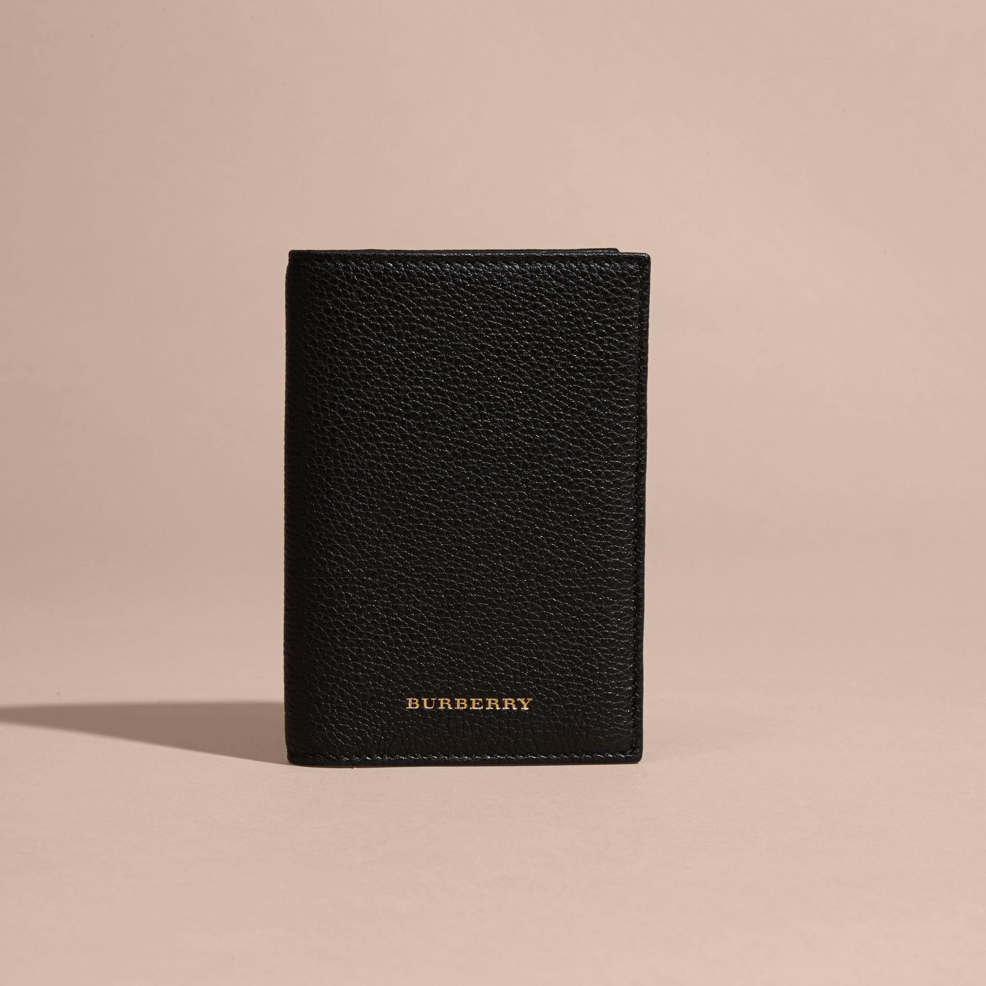 Black Grainy Leather Passport and Card Holder Black - gallery image 6
