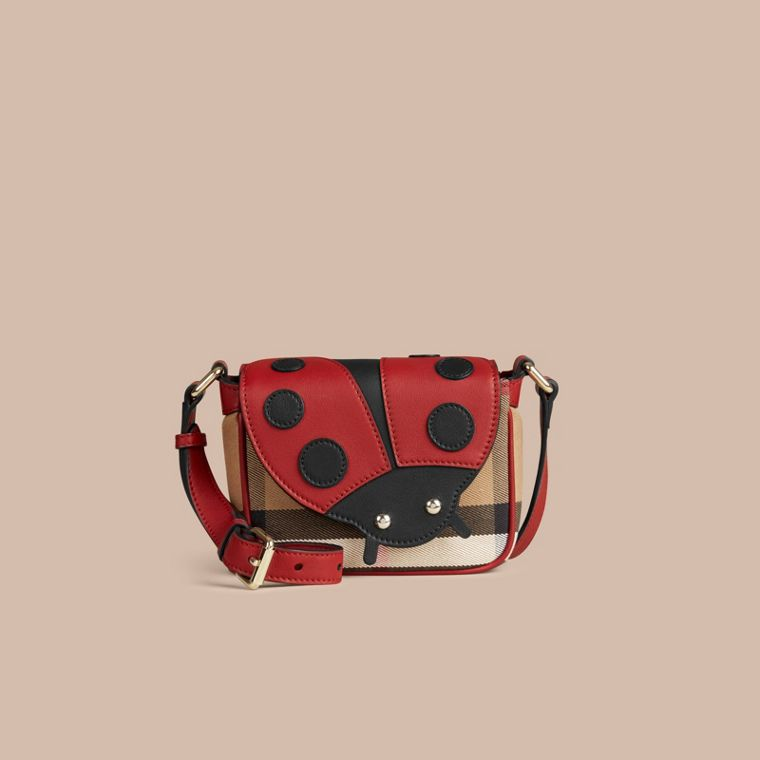 Parade red Ladybird Canvas Check and Leather Crossbody Bag - cell image 1