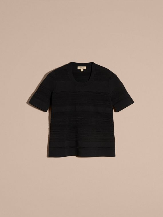 Black Short-sleeved Stitched Top - cell image 3