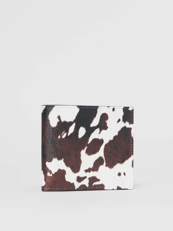 Cow Print Leather International Bifold Wallet in Black/white - Men | Burberry Australia - cell image 3