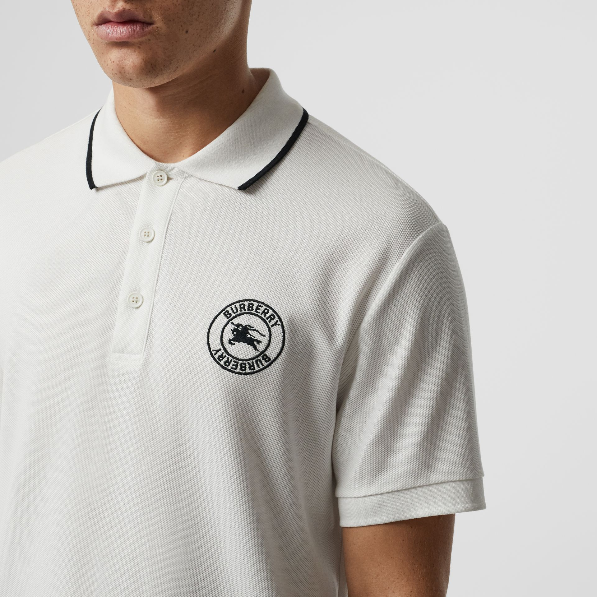 Embroidered Logo Cotton Piqué Polo Shirt in White - Men | Burberry - gallery image 1