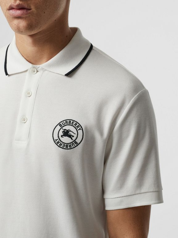 Embroidered Logo Cotton Piqué Polo Shirt in White - Men | Burberry Australia - cell image 1