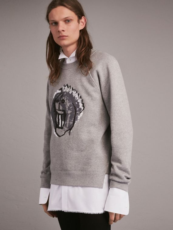 Unisex Brushed-back Jersey Sweatshirt with Pallas Heads Motif