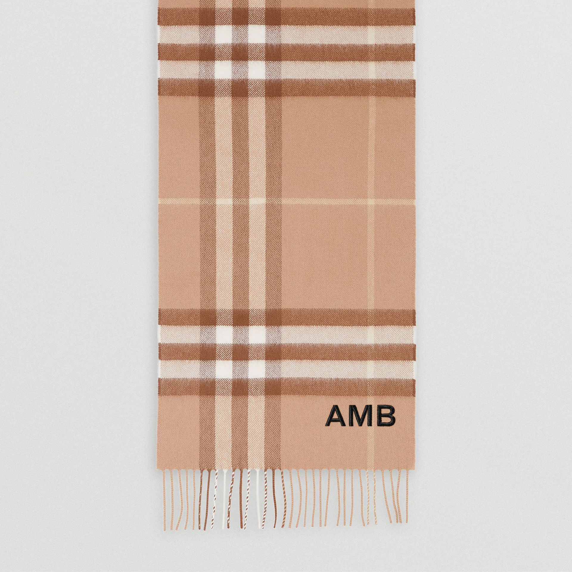 The Classic Check Cashmere Scarf in Mid Camel | Burberry - gallery image 8