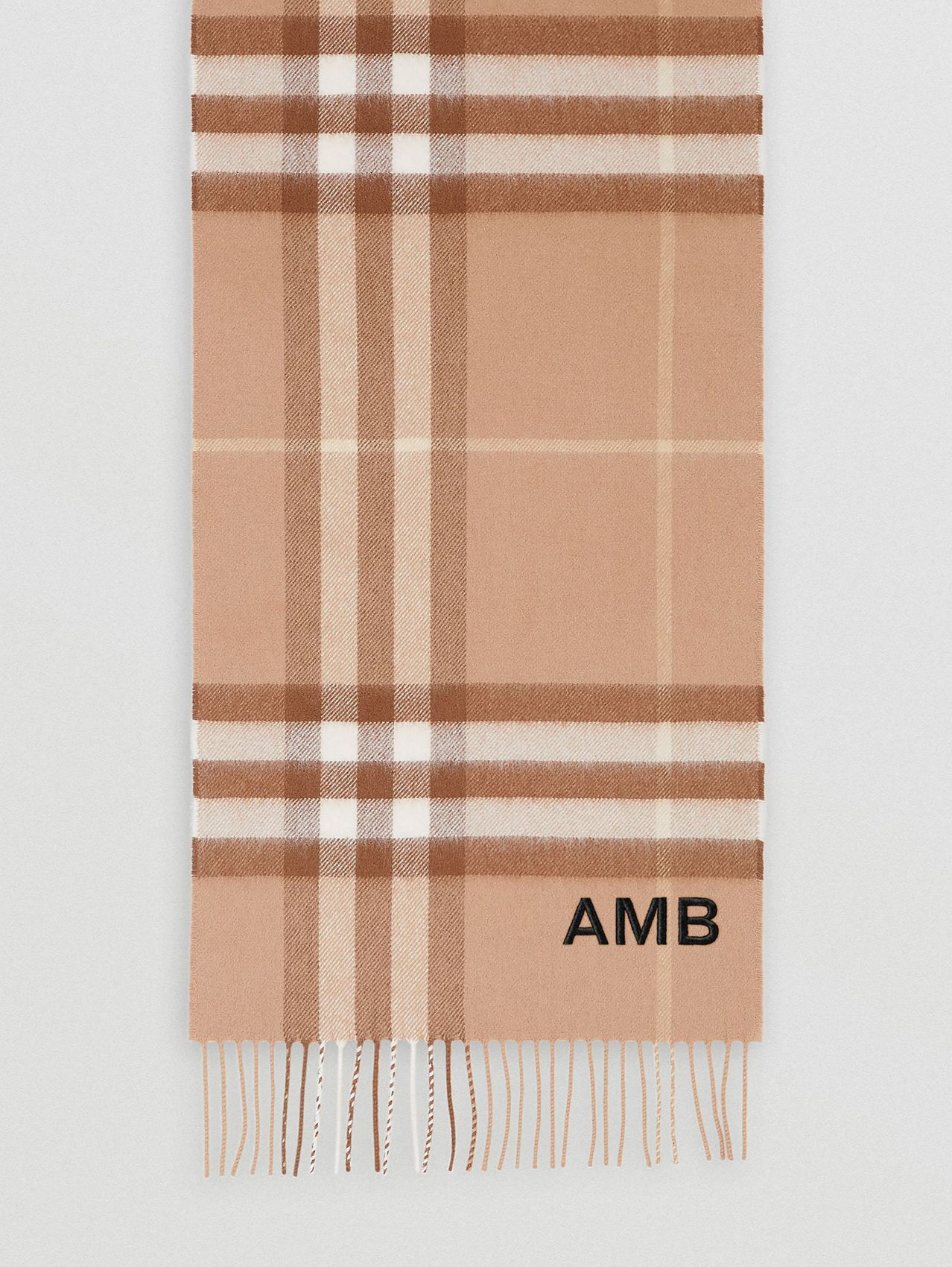 The Classic Check Cashmere Scarf in Mid Camel