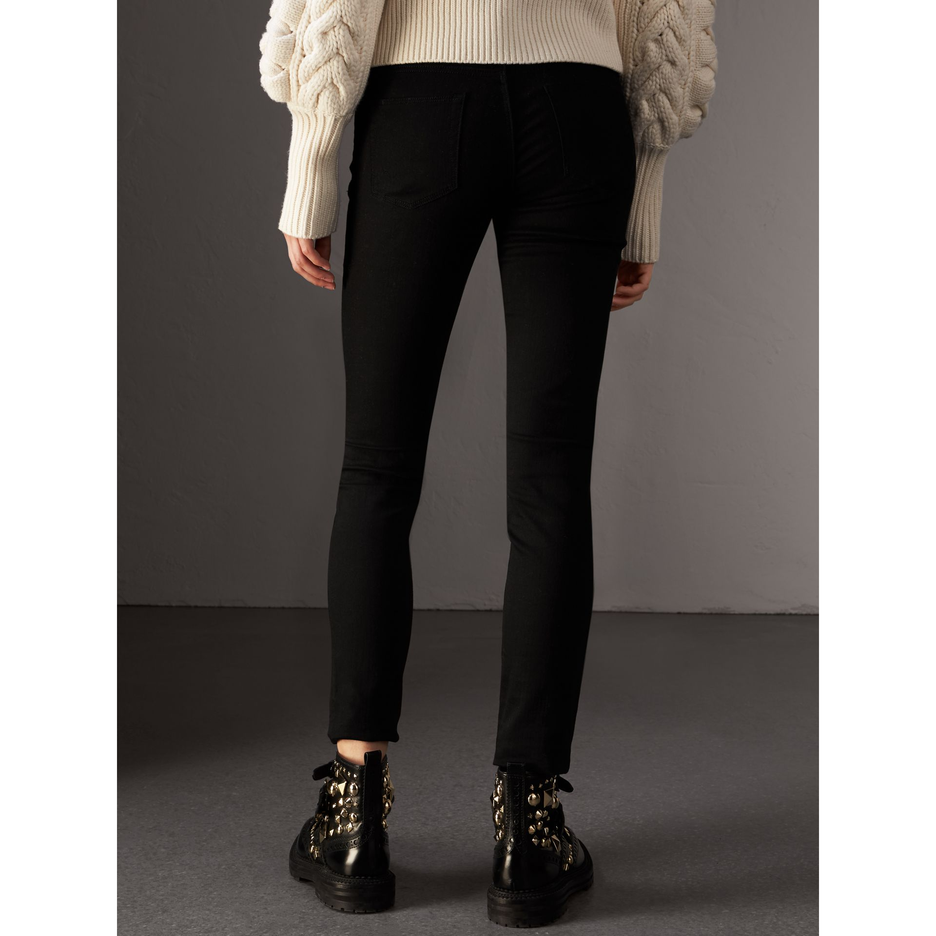 Skinny Fit Low-Rise Deep Black Jeans - Women | Burberry United Kingdom - gallery image 2
