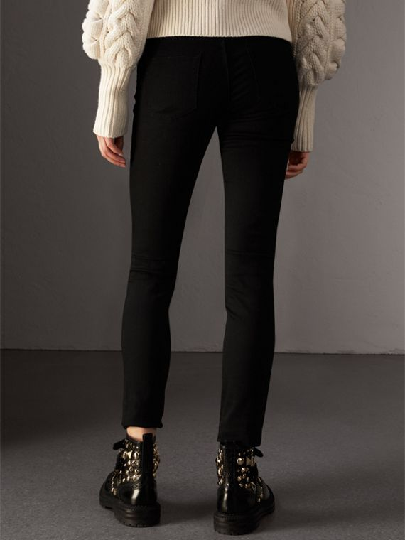 Skinny Fit Low-Rise Deep Black Jeans - Women | Burberry United Kingdom - cell image 2