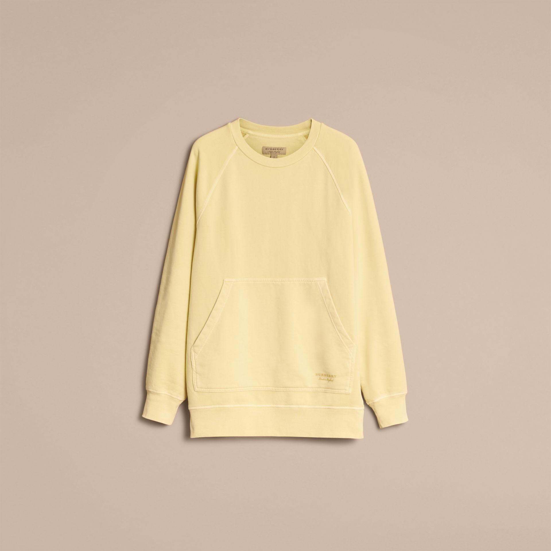 Unisex Pigment-dyed Cotton Oversize Sweatshirt in Pale Yellow - Women | Burberry Hong Kong - gallery image 4