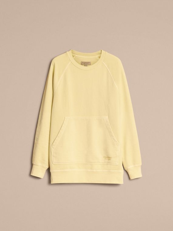 Unisex Pigment-dyed Cotton Oversize Sweatshirt in Pale Yellow - Women | Burberry Hong Kong - cell image 3