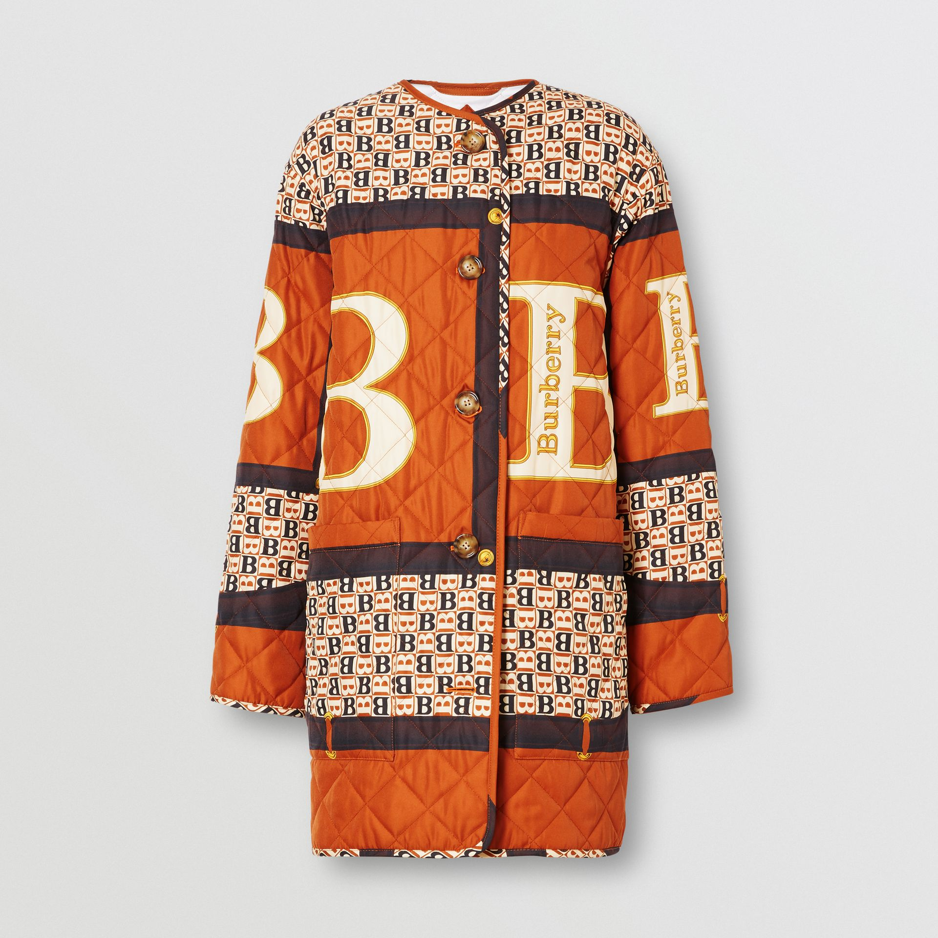 Archive Scarf Print Diamond Quilted Coat in Clay Sienna - Women | Burberry - gallery image 3