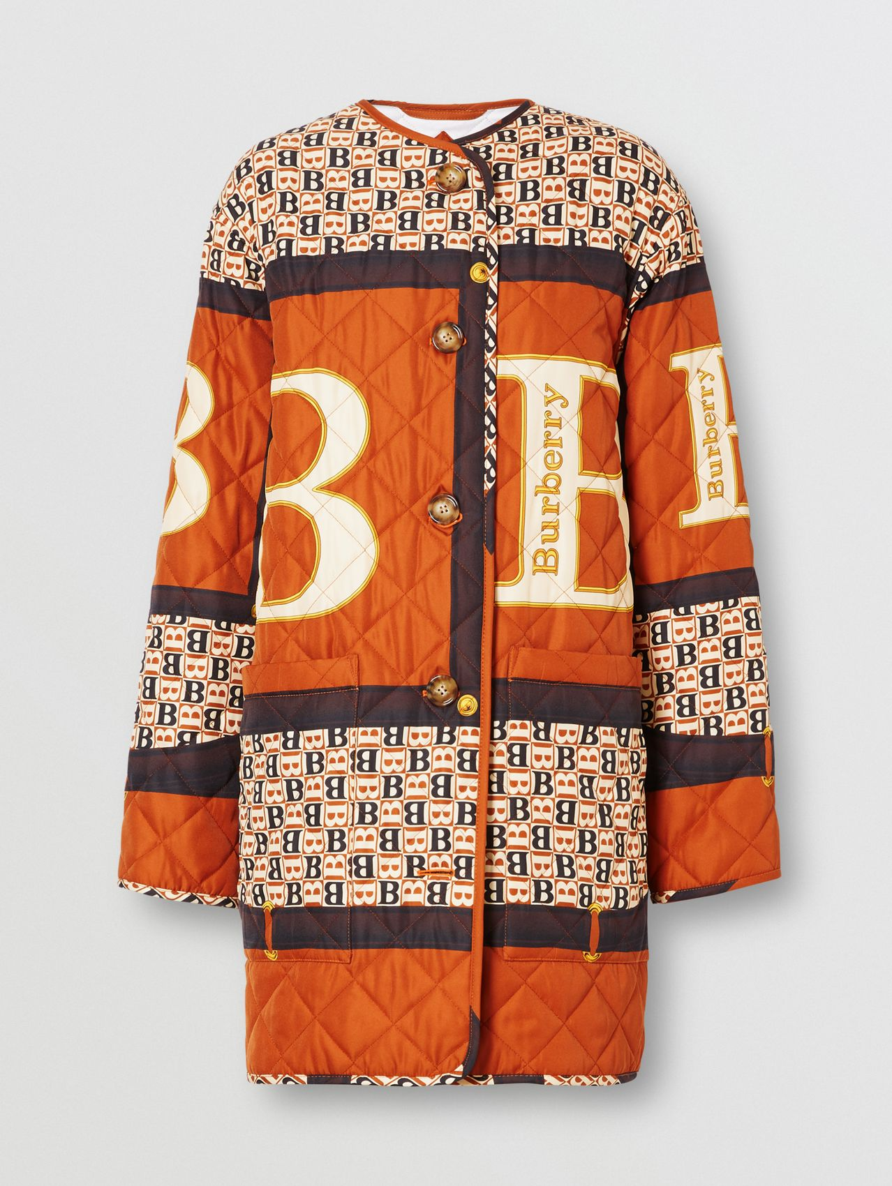 Archive Scarf Print Diamond Quilted Coat in Clay Sienna