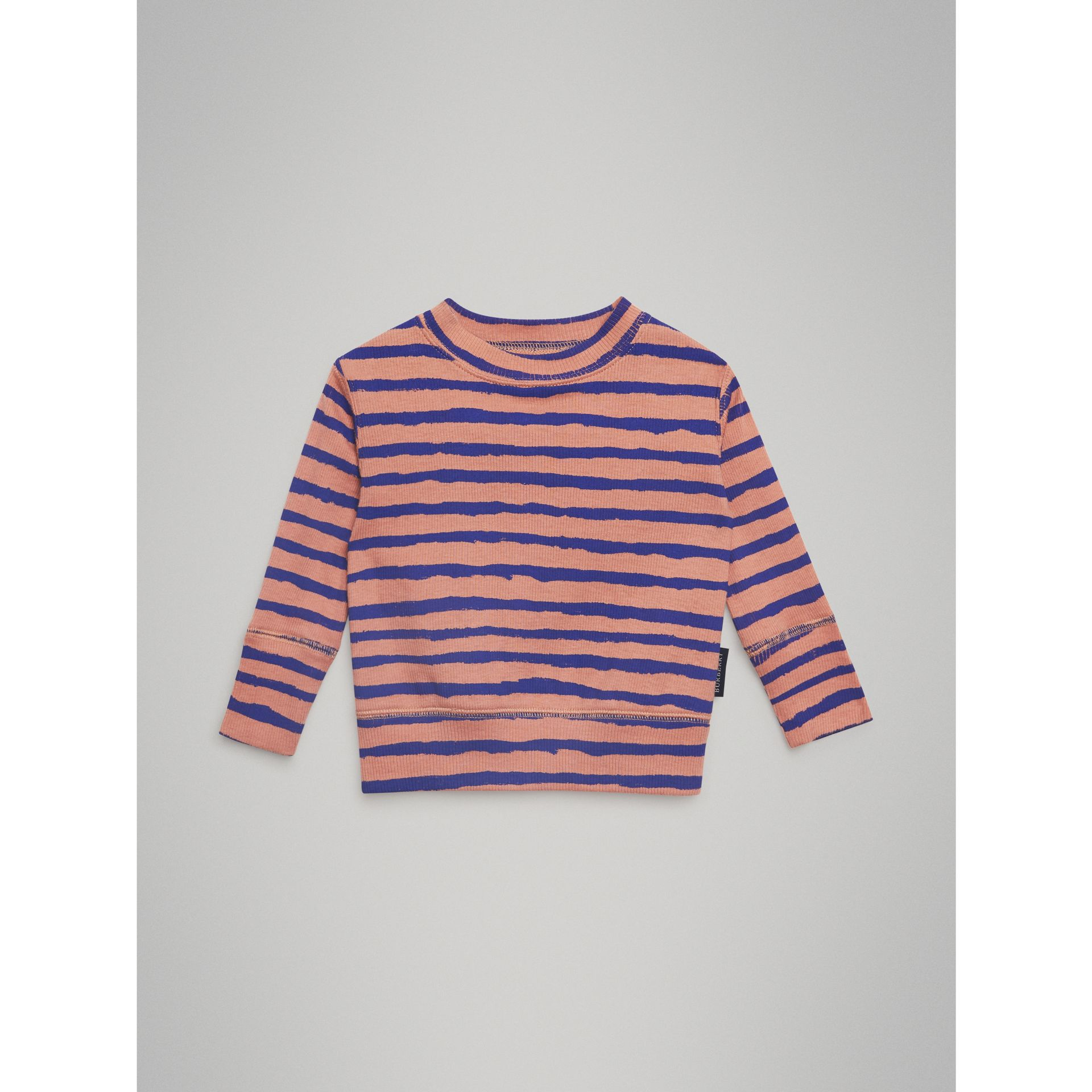 Striped Rib Knit Cotton Sweatshirt in Dusty Pink - Children | Burberry Australia - gallery image 0