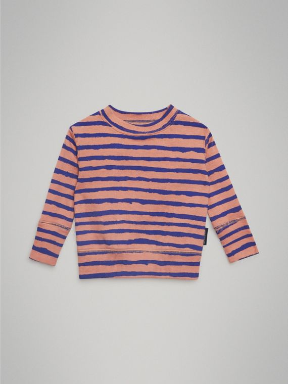 Striped Rib Knit Cotton Sweatshirt in Dusty Pink