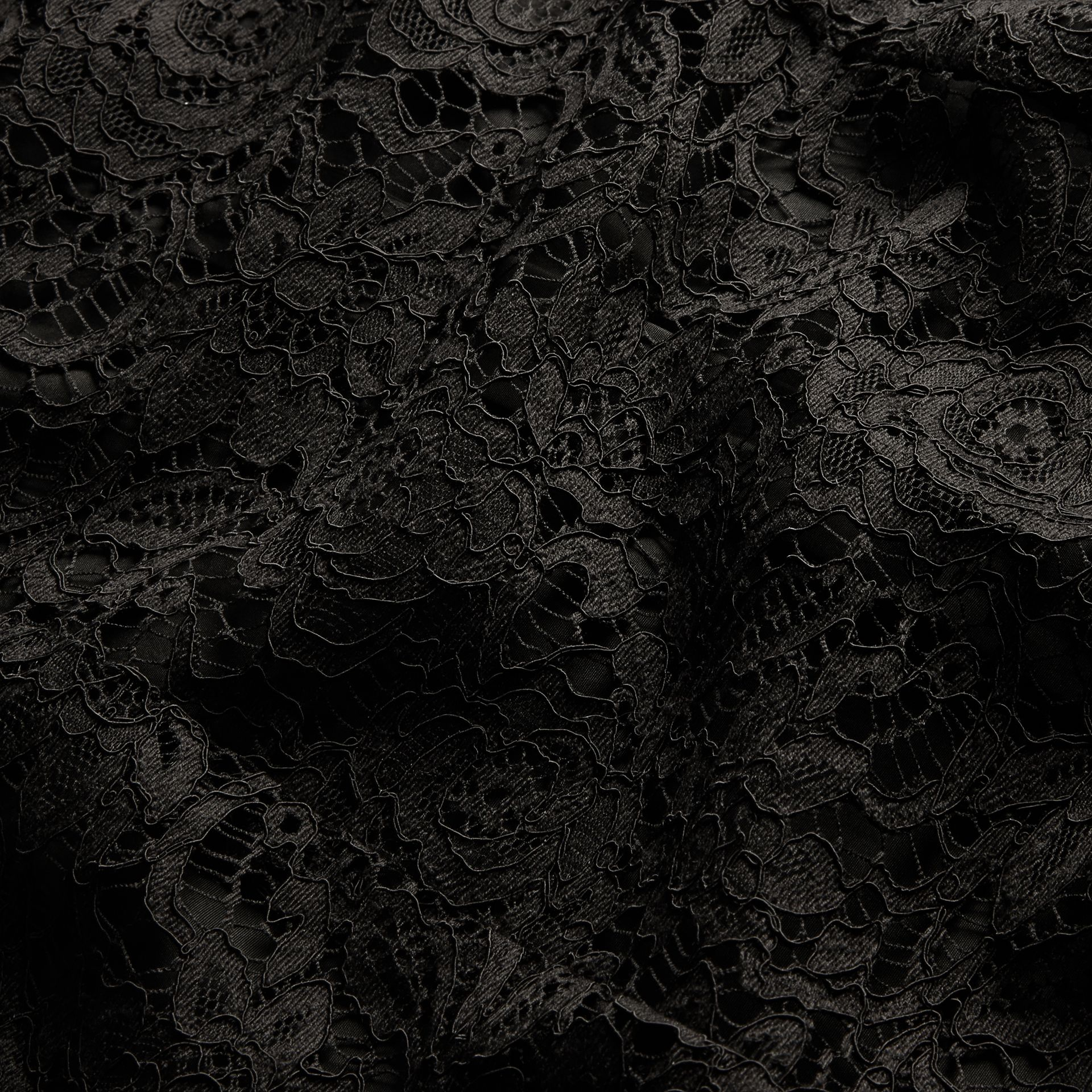 Black Macramé Lace Detail Cotton Shirt - gallery image 2