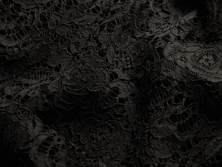 Black Macramé Lace Detail Cotton Shirt - cell image 1