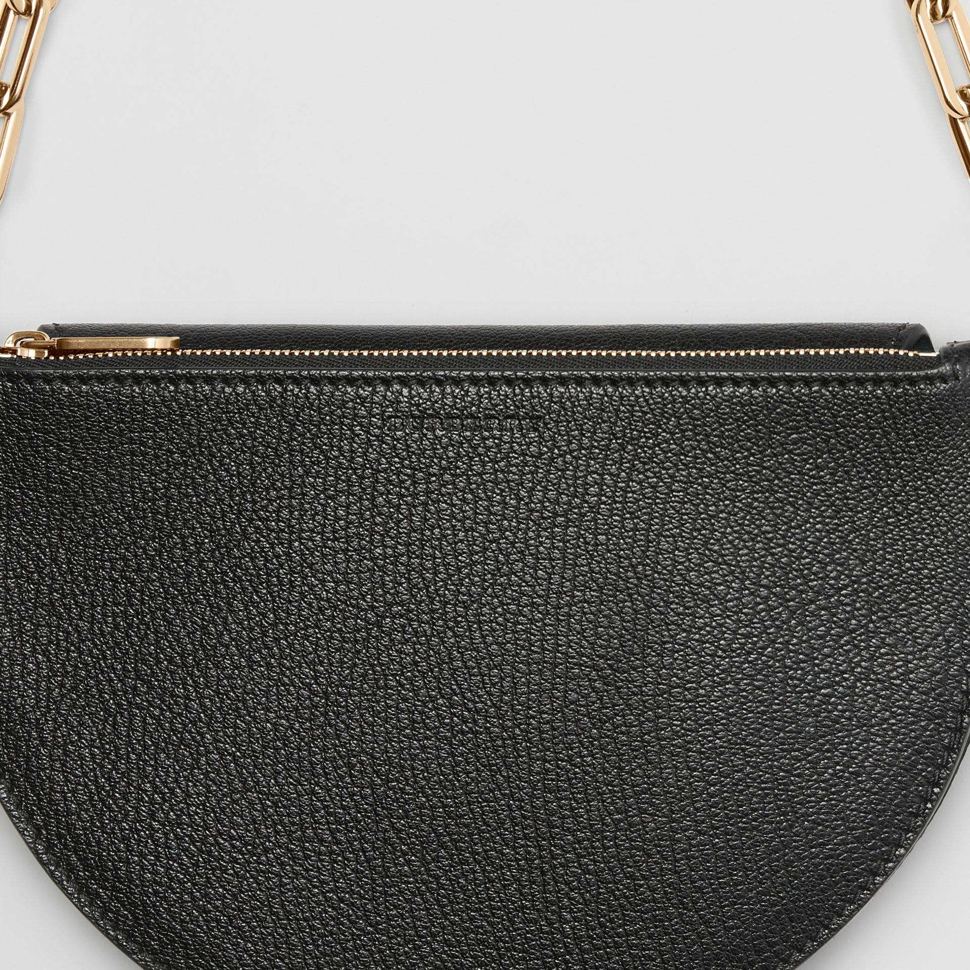 The Small Leather D Bag in Black - Women | Burberry - gallery image 6