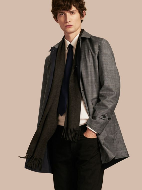 Reversible Prince of Wales Wool Car Coat