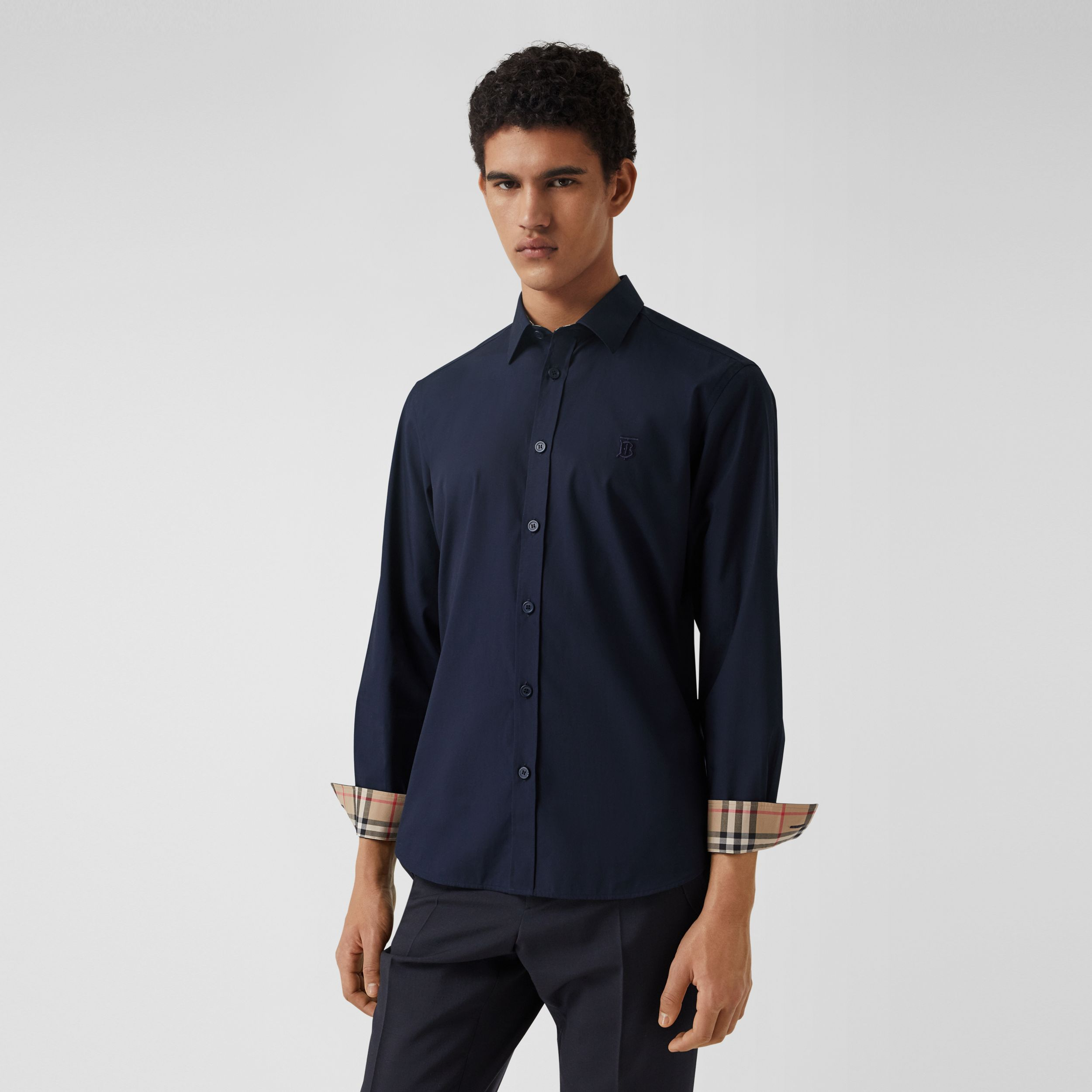 Slim Fit Monogram Motif Stretch Cotton Poplin Shirt in Navy - Men | Burberry - 1