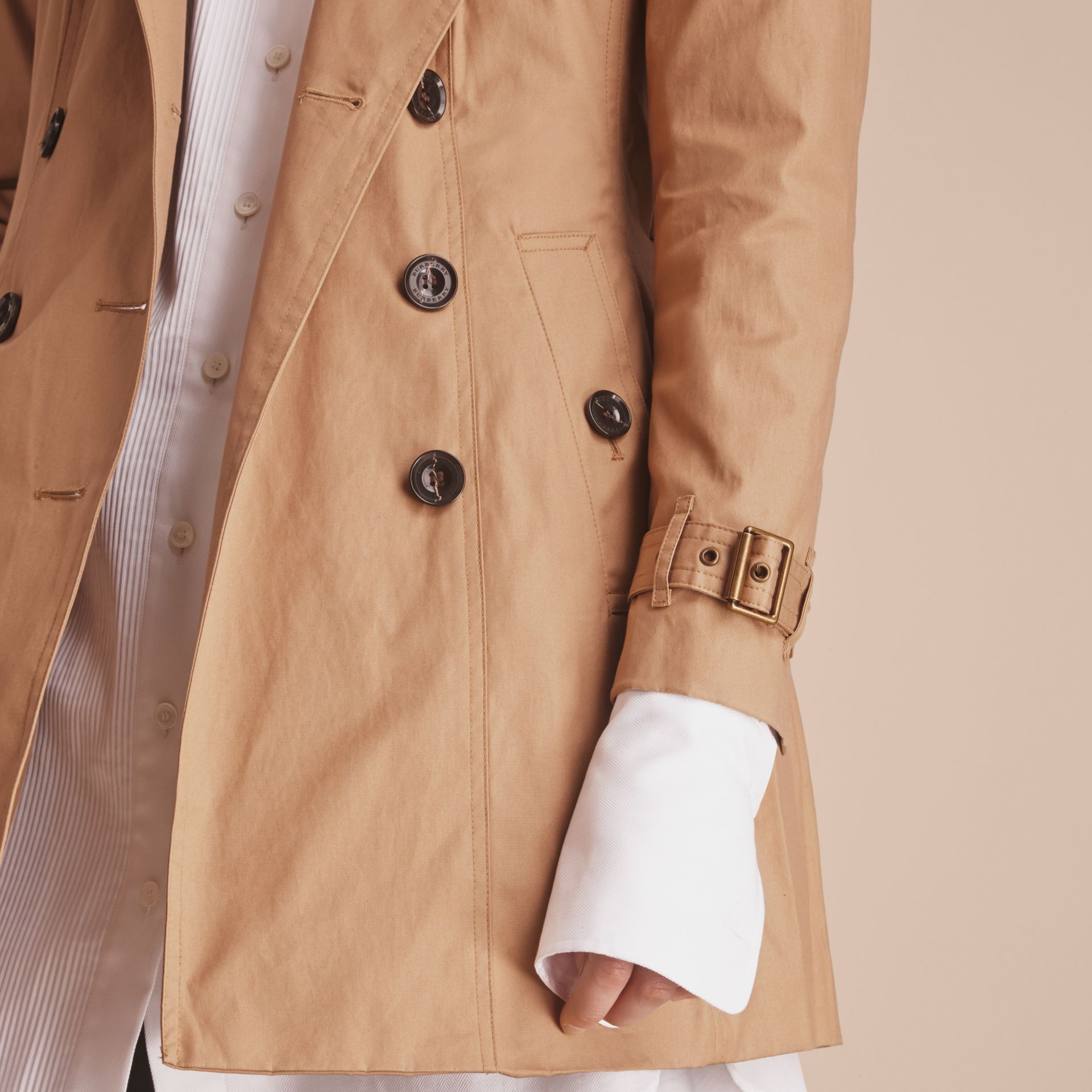 Hooded Trench Coat with Warmer Light Camel - gallery image 6