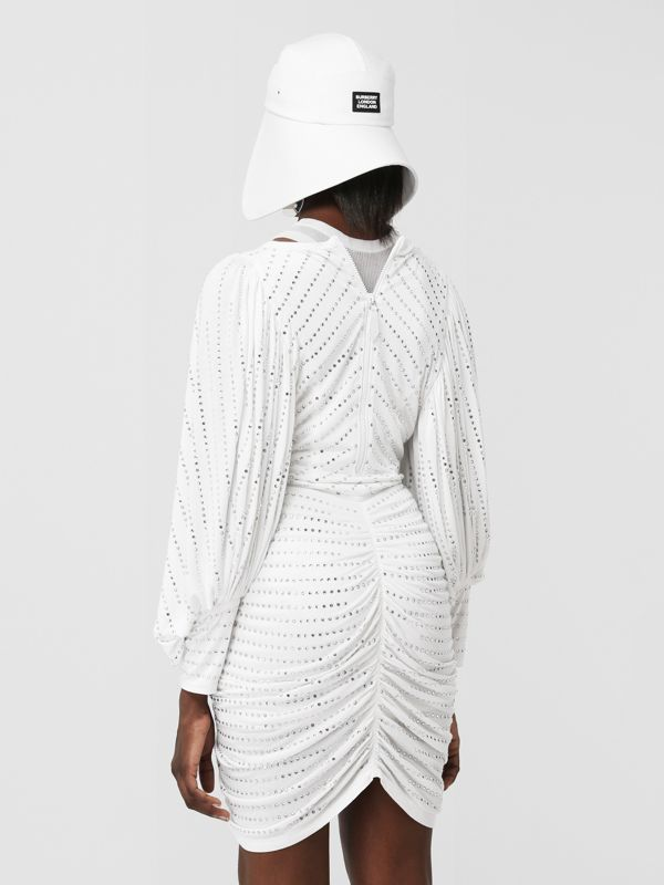 Crystal Pinstriped Ruched Jersey Dress in Optic White - Women | Burberry Canada - cell image 2