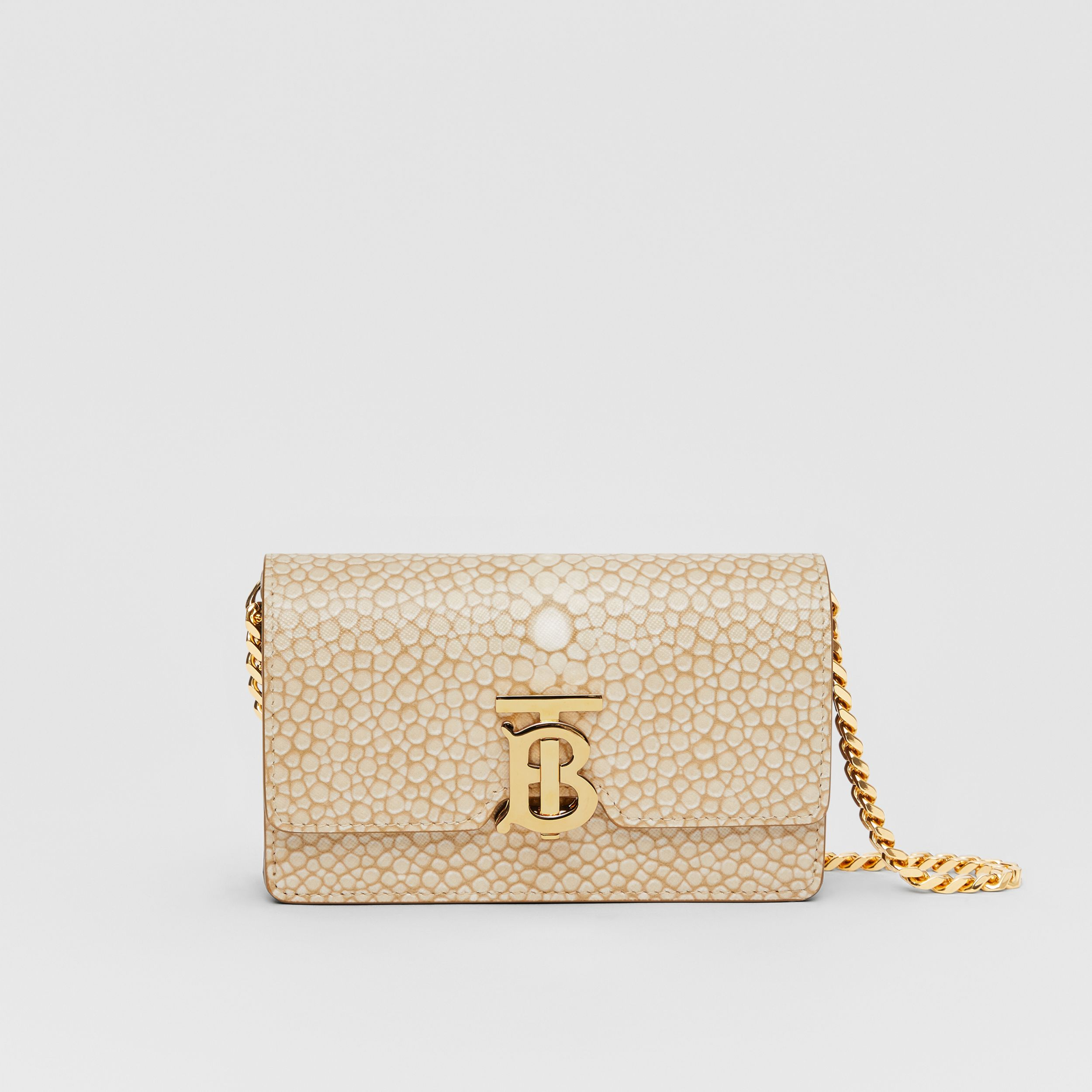 Mini Fish-scale Print Leather Shoulder Bag in Light Sand - Women | Burberry - 1