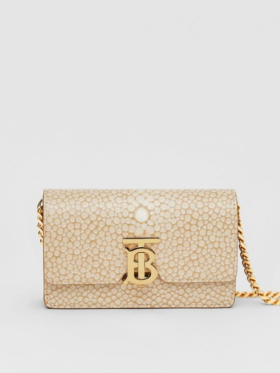 Mini Fish-scale Print Leather Shoulder Bag in Light Sand