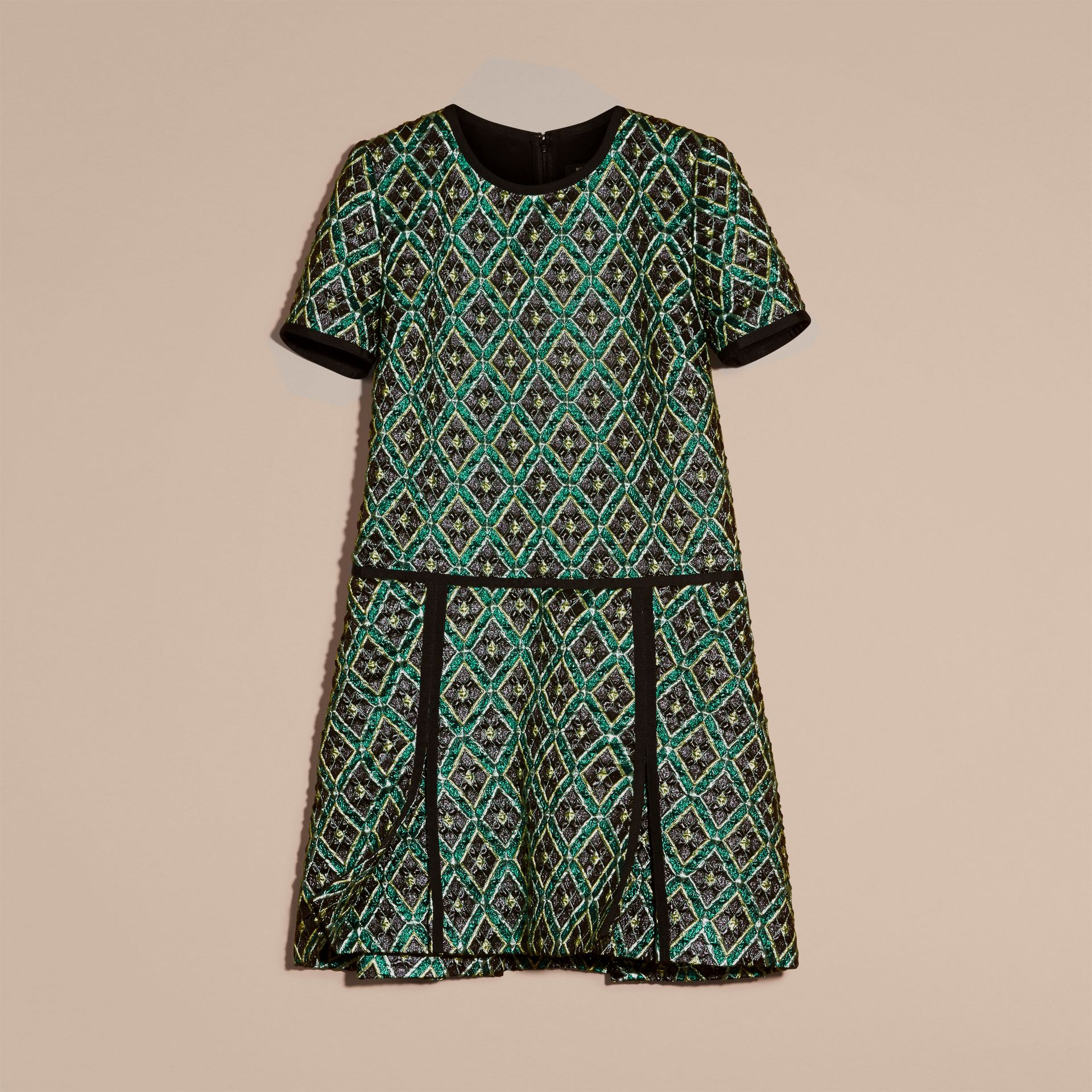 Deep green Patchwork Check Jacquard Dress - gallery image 4