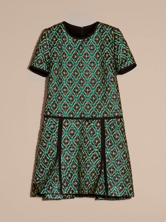Deep green Patchwork Check Jacquard Dress - cell image 3
