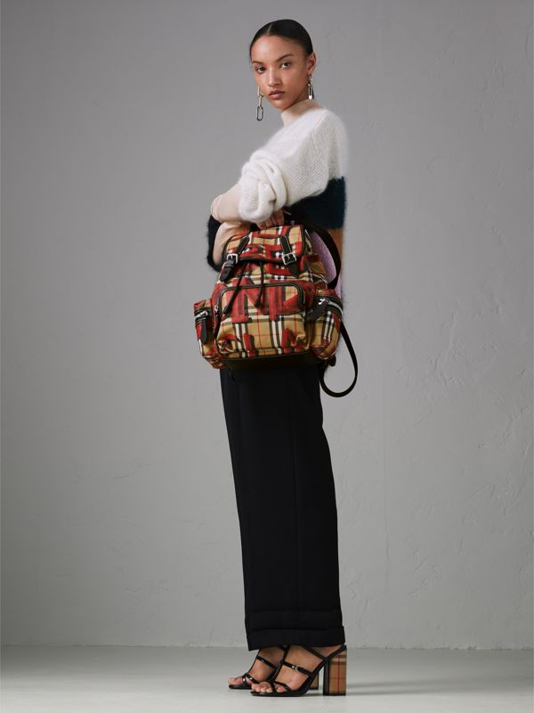 The Medium Rucksack in Graffiti Print Vintage Check in Antique Yellow/red - Women | Burberry - cell image 3