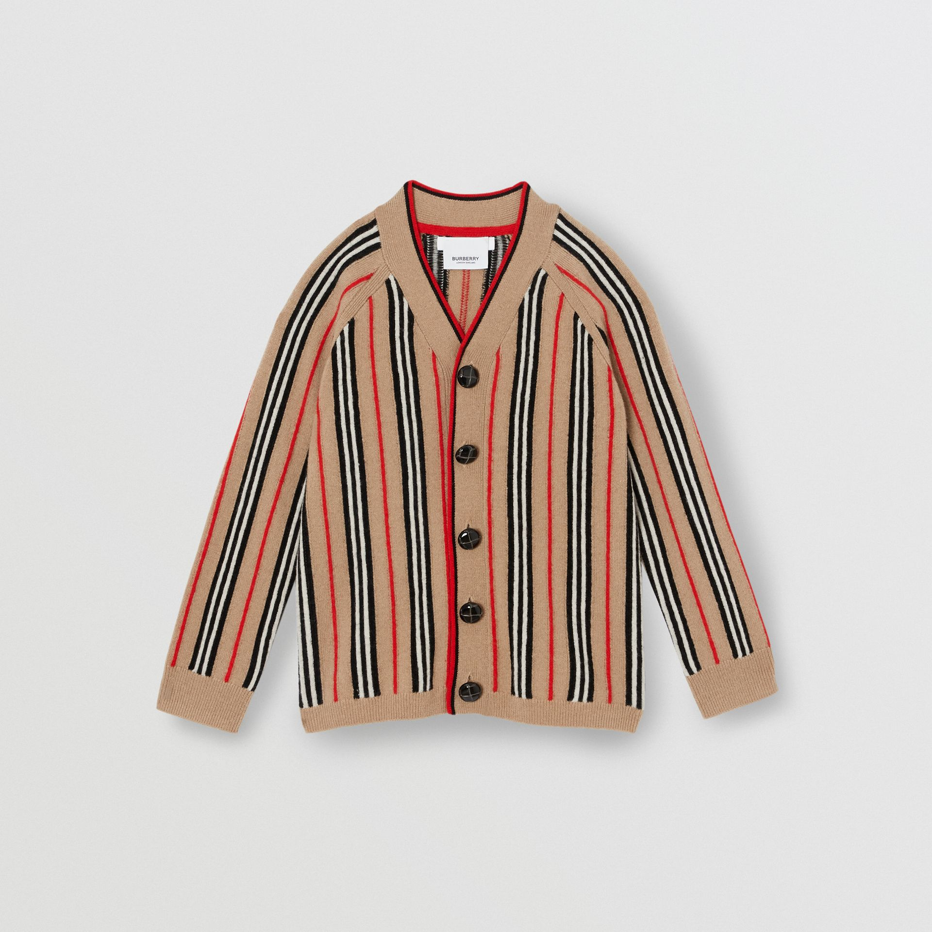 Icon Stripe Wool Cashmere Cardigan in Archive Beige | Burberry - gallery image 0