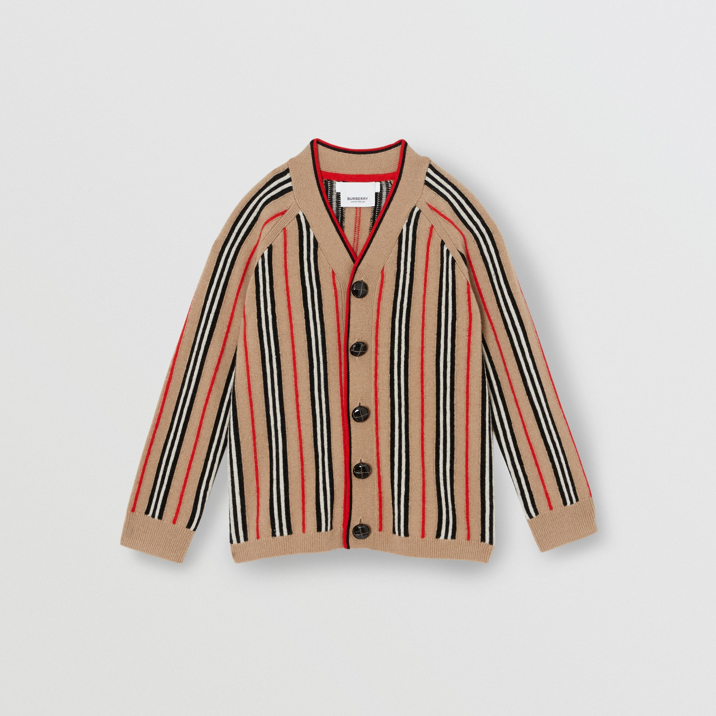 Icon Stripe Wool Cashmere Cardigan in Archive Beige | Burberry - 1