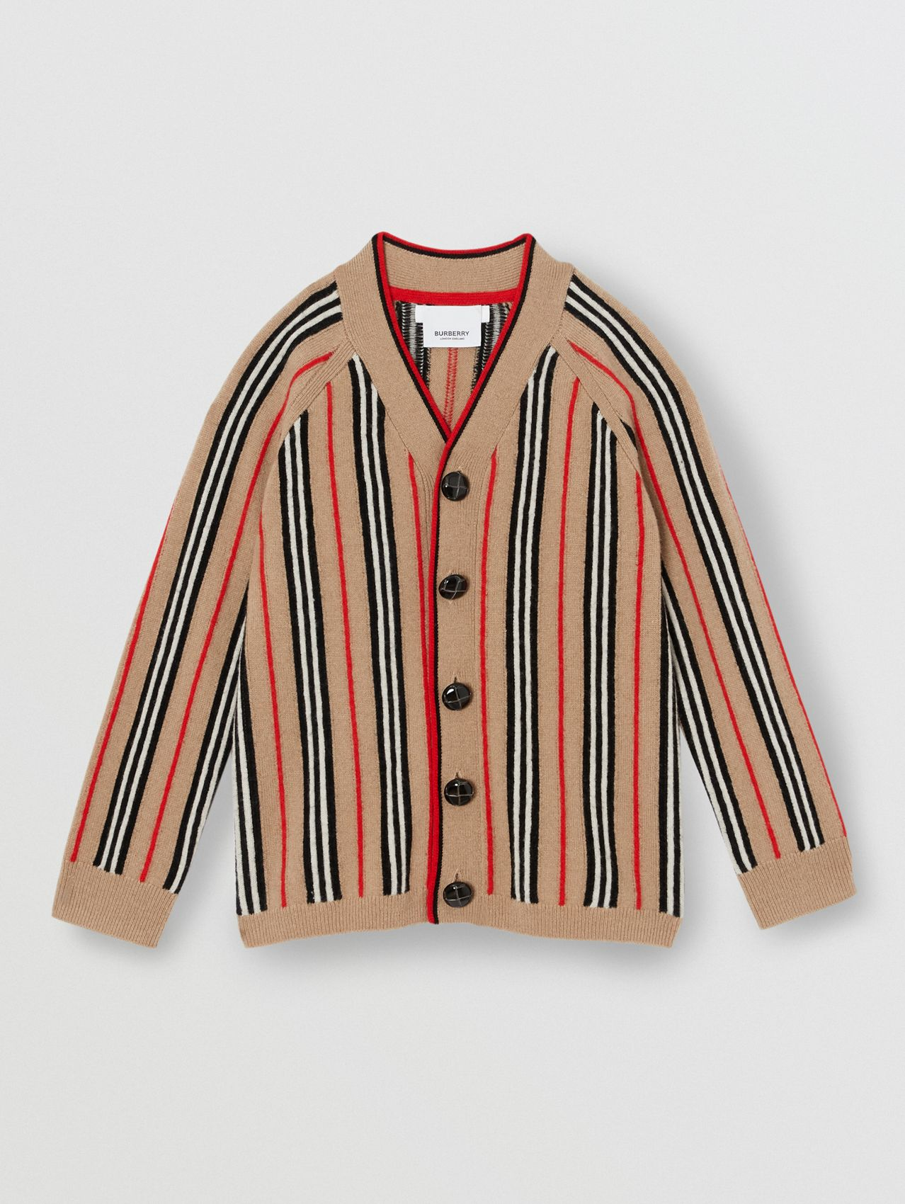 Icon Stripe Wool Cashmere Cardigan in Archive Beige
