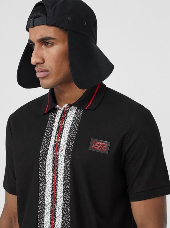Monogram Stripe Print Cotton Piqué Polo Shirt in Black - Men | Burberry - cell image 1