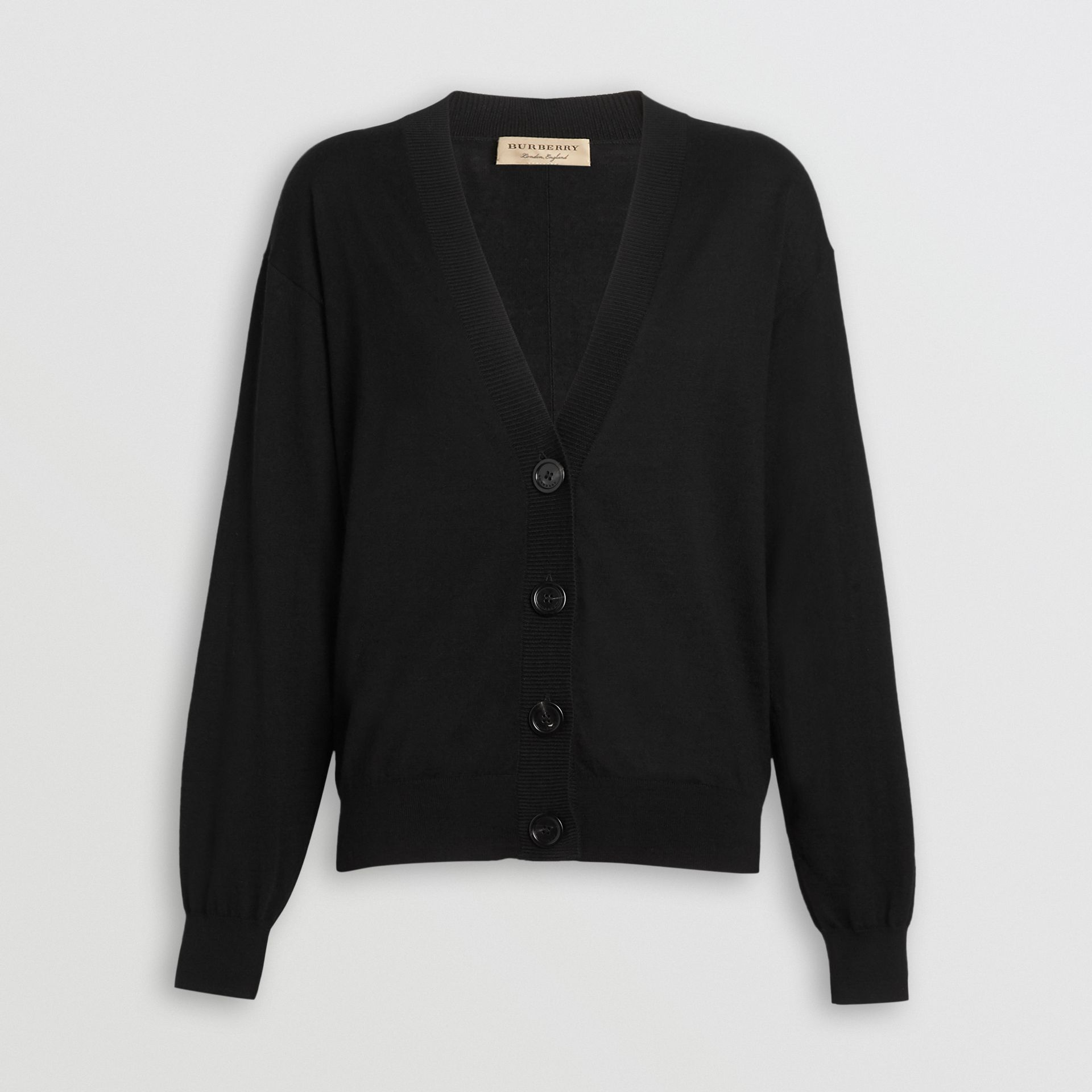 Vintage Check Detail Merino Wool Cardigan in Black - Women | Burberry Australia - gallery image 3