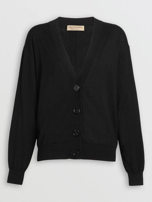 Vintage Check Detail Merino Wool Cardigan in Black - Women | Burberry United States - cell image 3