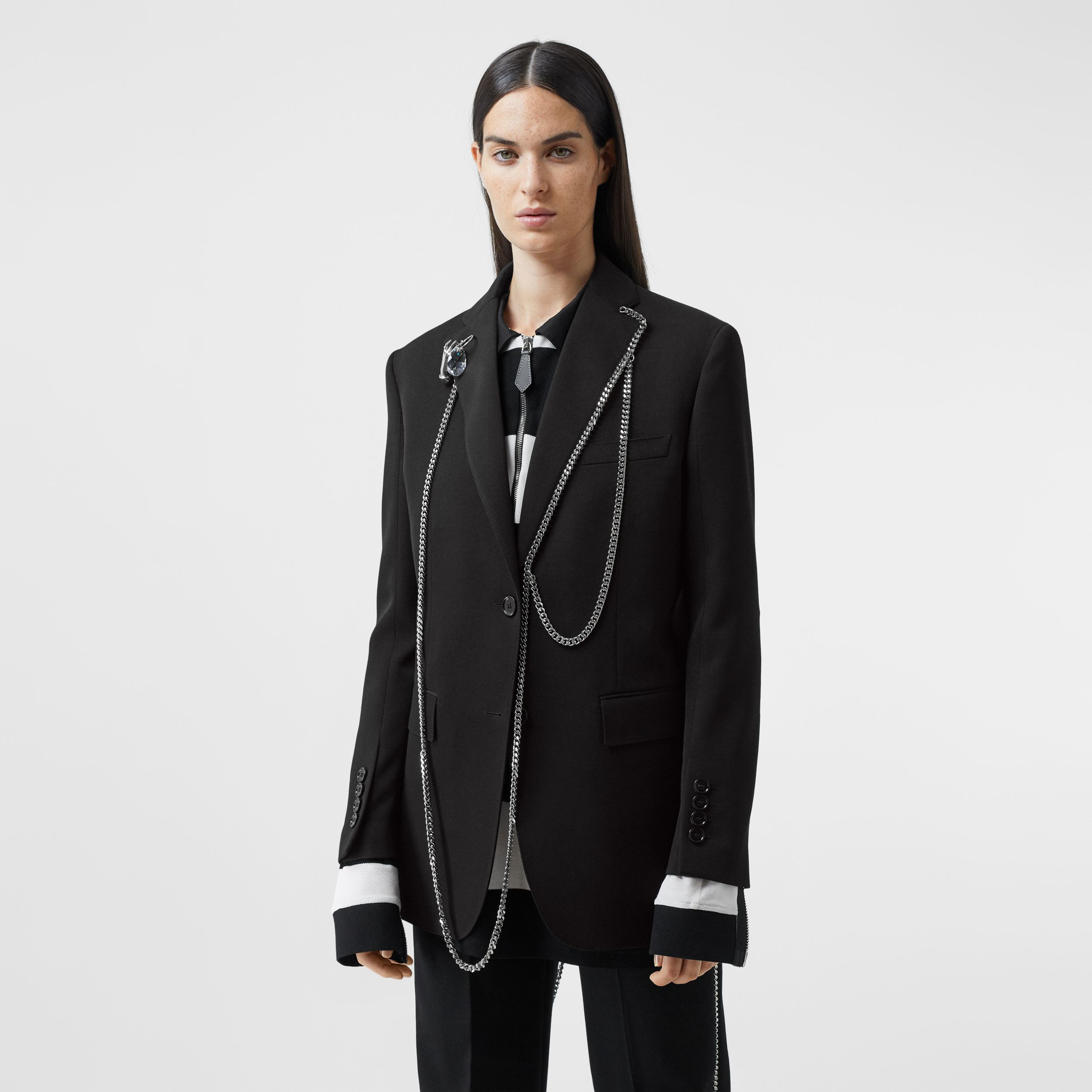 Chain Detail Wool Blazer in Black - Women | Burberry - 1