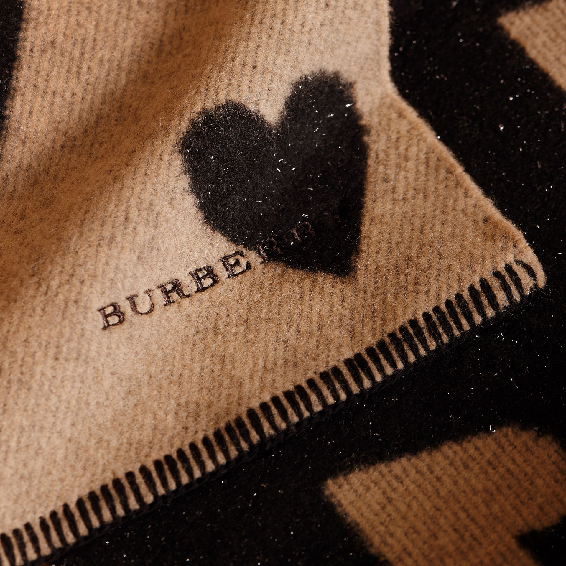 Metallic Heart Print Wool and Cashmere Blend Scarf Camel - gallery image 2