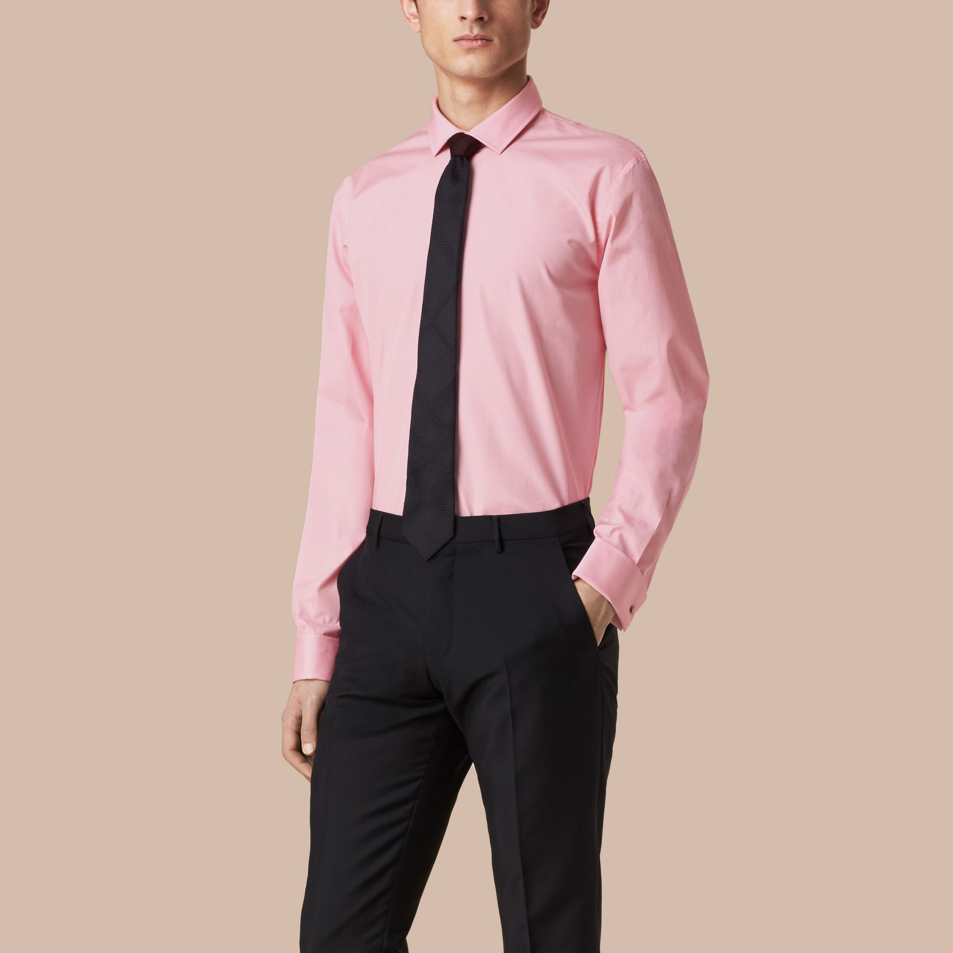 City pink Modern Fit Double-cuff Cotton Poplin Shirt City Pink - gallery image 1