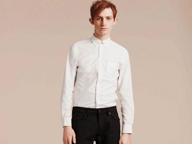 White Button-down Collar Cotton Linen Shirt White - cell image 4